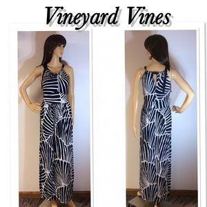 VINEYARD VINES NAVY AND WHITE MAXI DRESS